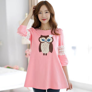 2018 new style owl pattern lace mosaics sleeve in the long style vest