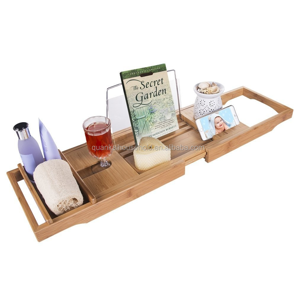 Natural Bamboo Bathtub Caddy Bath Tub Tray Organizer With Stainless ...