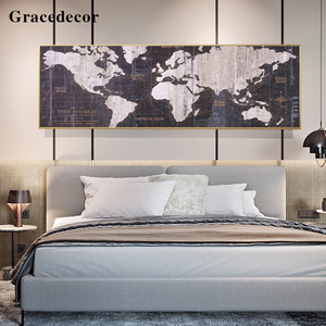 Wholesale Price Black And White World Map Wall Art With Frame