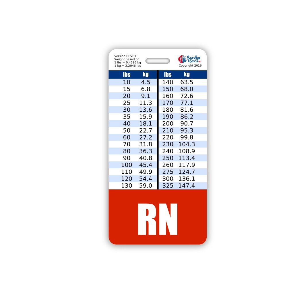 Buy weight conversion chart general range vertical badge id card rn badge buddy vertical w height weight conversion charts nvjuhfo Choice Image