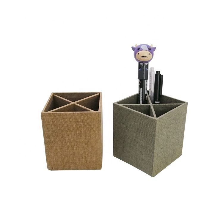 Briefpapier collection grijs karton pen stand opslag kubus desktop penhouder