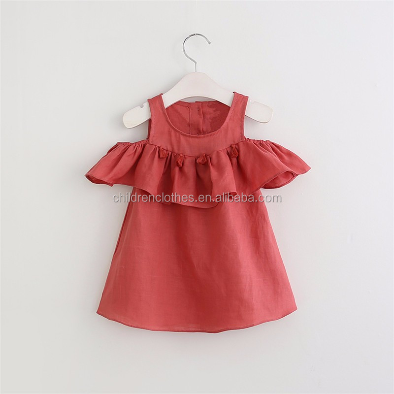 8fd7b48a101 Red Linen Girl Ruffle Dress With Tassel Boutique Long Frock New Style Girl