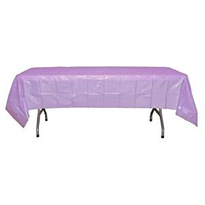 """Perfectmaze Set of 4 Round 84"""" or Rectangle 54"""" x 108"""" Plastic Table Covers for Showers, Birthdays, BBQs, Holidays, Backdrops (Rectangle 54"""" x 108"""", Lavender)"""