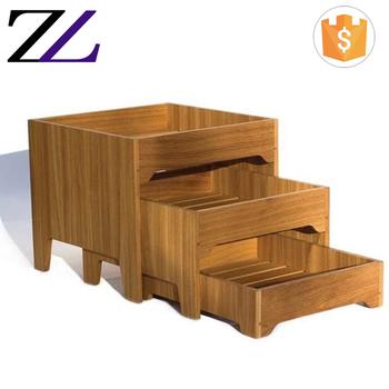 Pratos Para Buffet Counter No Atacad Folding 3 Tier Wood Cubes Food Bread Display Stand Shelf