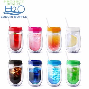 d6c9bf6e3b2 Foil Glitter Stemless Acrylic Wine Glass With Lid And Straw - 10 Oz Double  Wall Insulated Wine Cup Mug Tumbler