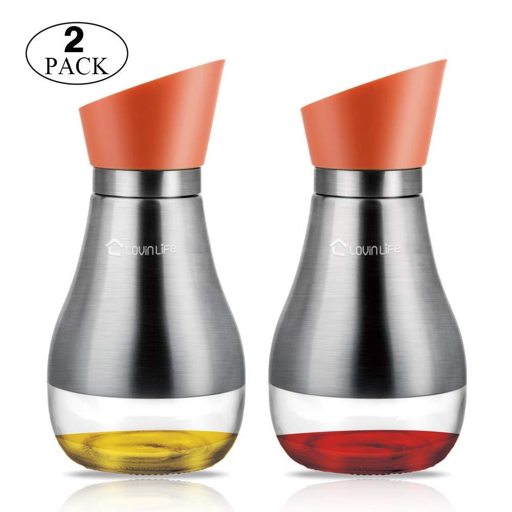 Olive Oil Dispenser, 2 Packs Vinegar Dispenser And Olive Oil Cruet 180 Degree Rotation With Glass And 304 Stainless Steel Bottle 14 OZ Oil And Vinegar Dispenser Set Orange