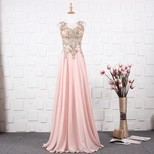 In Stock-Cheap Price Pink/Navy Blue Color Gold Embroidery 2019 Long Chiffon Evening Dresses Designer Sexy Beach Evening Gowns