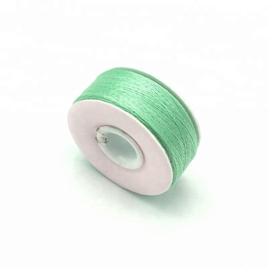 High quality garment embroidery thread size L 75D/2 light green spun polyester paper side pre-wound bobbins