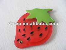 2012 hot selling ladies small cheap gift single promotion cute strawberry slip fancy make up mirror