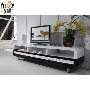 Kosova Black And White Wooden Design Corner Tv Table