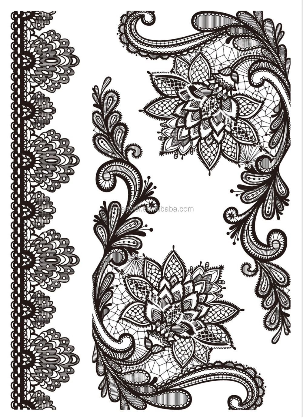New design white black lace temporary tattoo buy lace for White lace tattoo