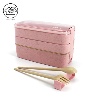 Eco-Friendly Reusable Three Layers Rectangle Wheat Straw Lunch Box