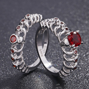 f676de3d7b77e9 Hainon Factory cheap skull rings men fine jewelry red zircon set elegant jewelry  rings for women