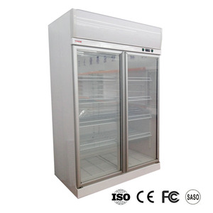 Plug in double glass door fridge