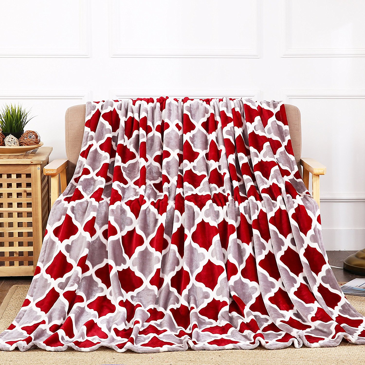 All American Collection New Super Soft Printed Throw Blanket (Throw Size Size, Wine/Grey Trellis)