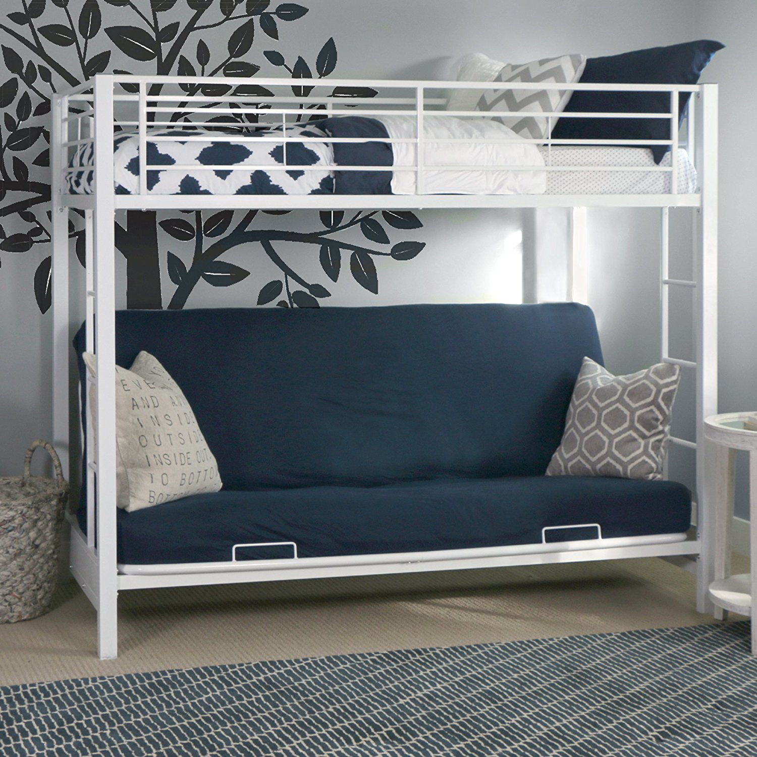 Get Quotations Sy Metal Twin Over Futon Bunk Bed In White Finish