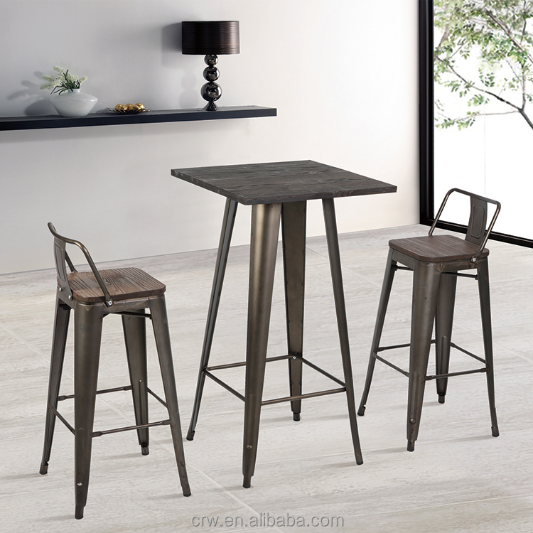 Iron square cheap bar table sets for restaurant use metal table and chair set