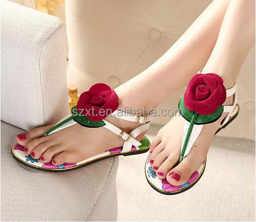 Latest Girls Rose Flower Flipflops Flat Sandal 2014 New Style ...