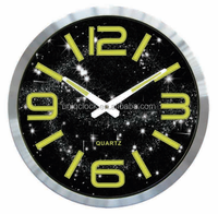 Luminous Aluminium Wall Clock With Solar System customized color