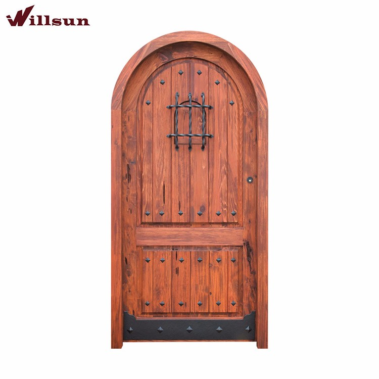 Europe single open wrought iron security doors steel wood for Wood doors with wrought iron