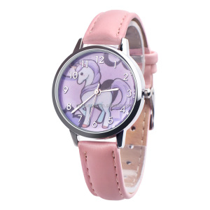 Unicorn Watch Children's watch Carton Rainbow Animal Kids Girls Leather Band Analog Alloy Quartz Watches wristwatches