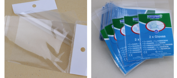 Recyclable Prompt response PVC opp bag packaging with self adhesive tape