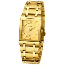 WWOOR роскошные часы топ бренда мужские прямоугольные часы из натуральной нержавеющей стали золотые часы модные деловые кварцевые наручные ч...(Китай)
