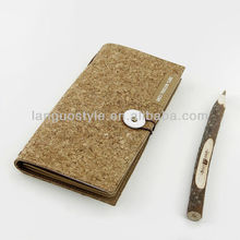 original button design special wood cover design fabric paper dairy / notebook LGDT-1608