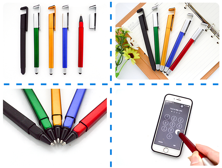 4 in 1 vierkante bal pen + telefoon stand + stylus touch + screen cleaner.