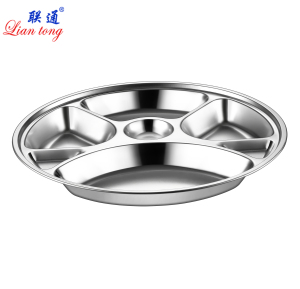 Food grade stainless steel round shape lunch tray 6 compartments dinner plate /dinner tray