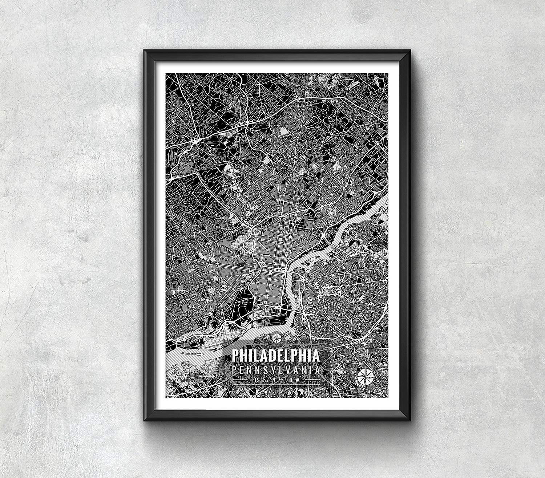 Philadelphia Map with Coordinates, Philadelphia Map, Map Art, Map Print, Philadelphia Print, Philadelphia Art, Philadelphia Gift, Map Decor