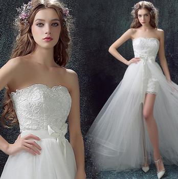 Sexy Short Front Long Back French Lace Fabric Appliqued Strapless Wedding Dress 2016