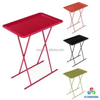 Customized Plastic Folding Snack Tray Tv Table With Metal Legs
