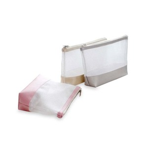 New product leather and mesh fabric splice waterproof cosmetic storage zipper bag for women
