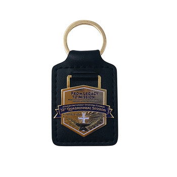 Custom Black leather PU keychain with metal ring