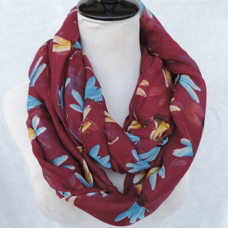 Dragonfly Printing Loop Boho Fall Voile Scarf