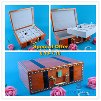 8 Grid Luxury Wooden Jewelry Watch Display Packaging Storage Quality Box