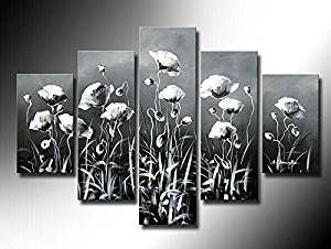 Ode-Rin Art Christmas Gift 100% Hand Painted on Canvas Abstract Simple Flowers Landscape Wall Art Oil Painting 5-pieces Artwork for Living Room Home and Wall Decoration