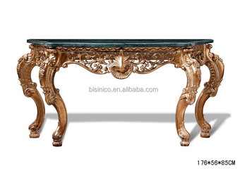 French Style Vintage Luxury Hand Carved Console Table, Hall Foyer Sofa Table  Wooden Carved Furniture