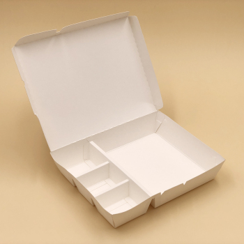 Biodegradable Disposable Paper Lunch Box with 4 Compartment