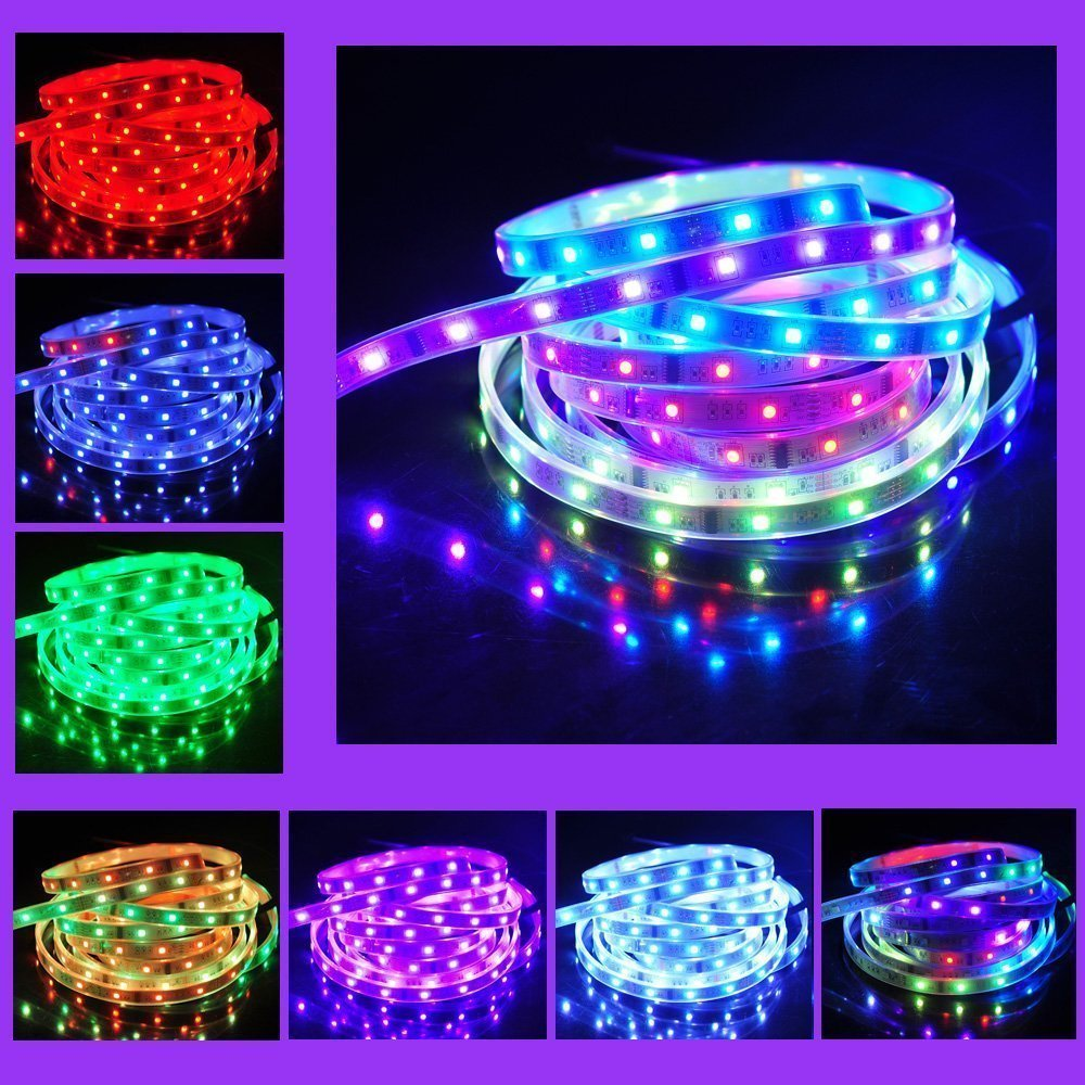 BZONE 5m 5050 RGB Magic Dream Color 6803 IC Waterproof Flexible LED Strip Light 133 Color Changing Bright LED Rope Lights