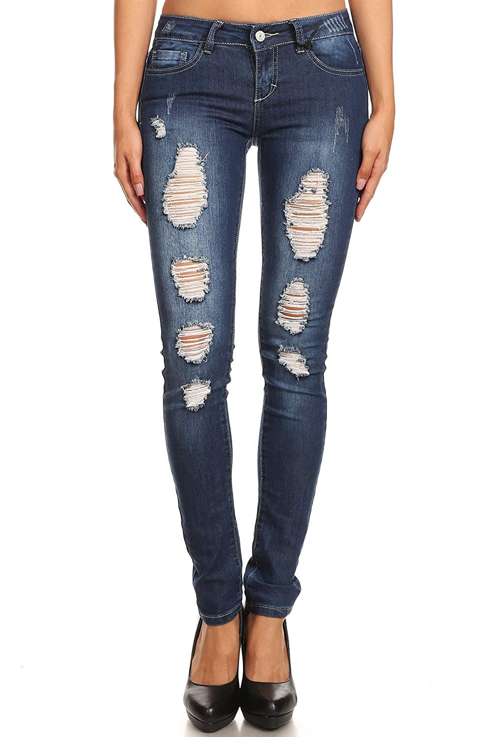 9c5ddef789c Get Quotations · wax jean Wax Junior s Distressed Skinny Jeans with Button  Zipper Closure
