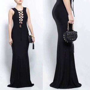 Classic Black Cocktail Bodycon Sleeveless Strappy Floor Length Sexy Long Gothic Black Dress