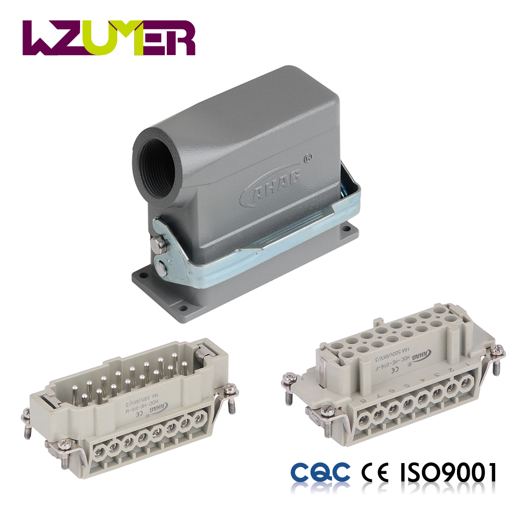WZUMER male female wire connector HE16 16 pin top entry automotive waterproof connector terminals