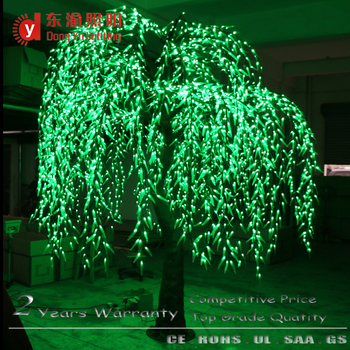 30 meter height artificial trunk coating branches green light led willow christmas light tree