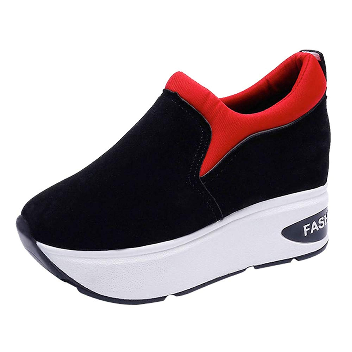 Clearance Womens Girls Wedges Shoes,Casual Suede Thick-Soled Increase Platform Shake Sneaker 5.5-7.5