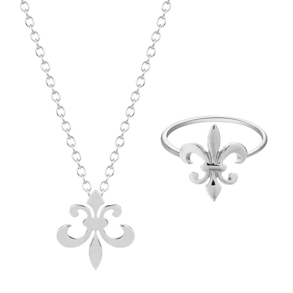 Plant Jewelry Set Fleur De Lis Chain Necklace Design Party Wedding Rings Charms18K Gold Plated Fashion Ring Pendants for Lovers