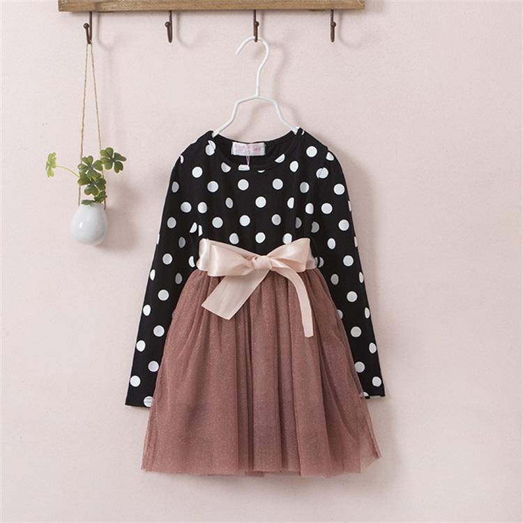 Unikids New Winter Dress For Girl Long Sleeve Bow Knot Princess