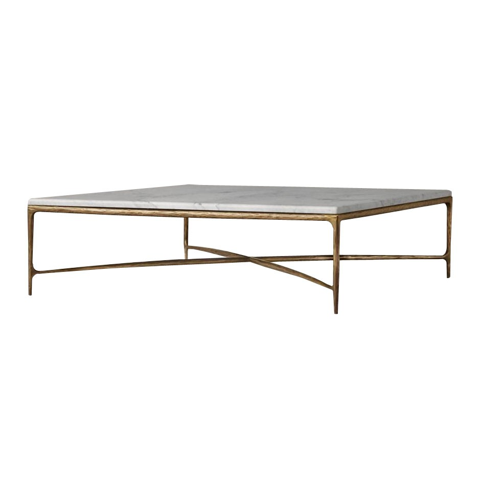 - Vintage Natural Marble Top Metal Brass Gold Coffee Table White