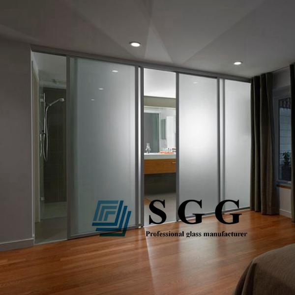 ducha de pared de cristal y esmerilado de vidrio templado puerta de cristal esmerilado